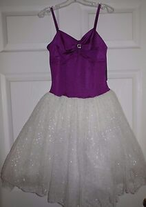 NWT Body Wrappers Dance Tutu Dress Purple White Silver Shimmer Ladies M T6221