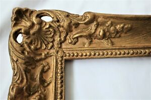 ANTIQUE FIT 10 X 14 GOLD PICTURE FRAME WOOD GESSO ORNATE FINE ART FRENCH BAROQUE