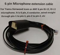 Microphone Extension Cable 6 Pin Rj12 Rj-12 Modular Yaesu Ft8800 Ftm-400 12 Feet