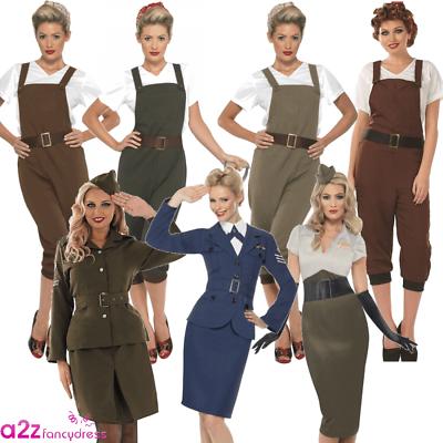 Buono Ww2 1940s Donna Tempo Di Guerra Land Ragazza Pilota Esercito Costume Vestito-mostra Il Titolo Originale