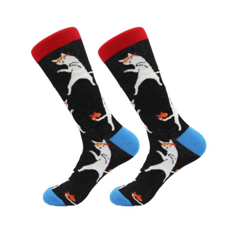 New mens socks Combed Cotton Animal fruits Pattern Funny Crew Casual Crazy Socks