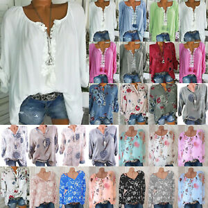 Womens-Floral-V-Neck-Long-Sleeve-Loose-Tops-Ladies-Casual-Shirt-Blouse-Plus-Size