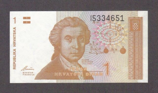 1991 1 One Dinar Croatia Currency Unc Banknote Note Money Bank Bill Cash Europe