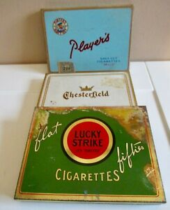 VINTAGE-TIN-FLAT-50-CIGARETTES-BOXES-Players-Lucky-Strike-amp-Chesterfields