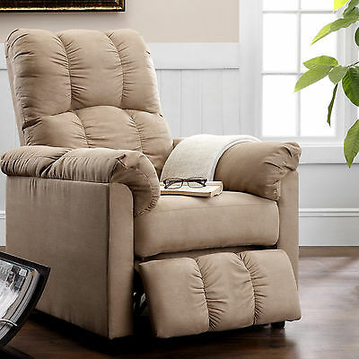 NEW Modern Recliner Chair Beige Microfiber Reclining Furniture Seat Living Room
