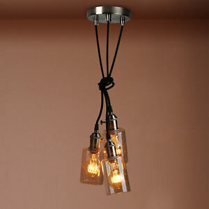 Retro vintage cluster 3 ceiling pendant light fittings glass bottle image is loading retro vintage cluster 3 ceiling pendant light fittings mozeypictures Images