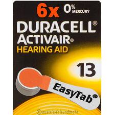 """6x DURACELL EasyTab 13 ACTIVAIR Hörgeräte-Batterie PR48 orange"