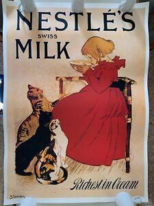 Nestle/'s Milk 1904 Richest Cream Vintage Poster Print Girl And Cats Steinlen Art