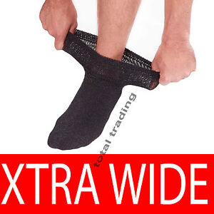 Mens-Extra-Wide-Diabetic-Socks-Thicker-Sports-Work-Loose-Top-Oedema-lot