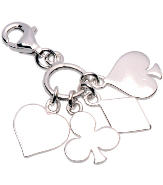 Card Suit Heart Diamond Clove Spade Lobster Clasp Clip Sterling Silver Charm