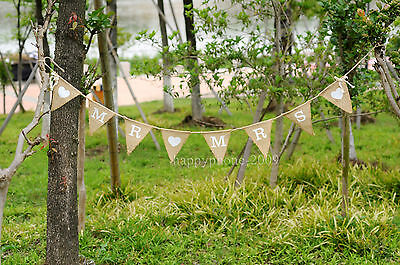 1.7m Mr Mrs Love Heart Hessian Burlap Banner Vintage Wedding Bunting Party Decor