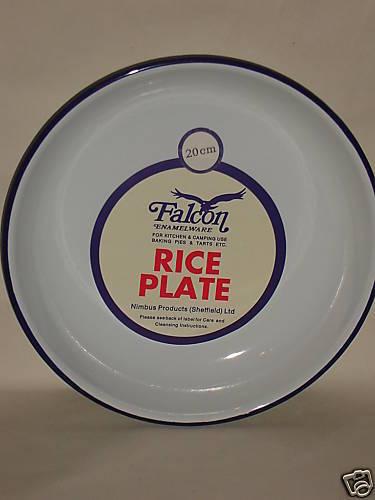 Nouveau Faucon blanc émail rond gâteau de riz Plaque de cuisson plat étain 20 cm