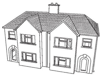 Dapol C57. Semi-detached House - Plastic Kit. (00) Railway Model