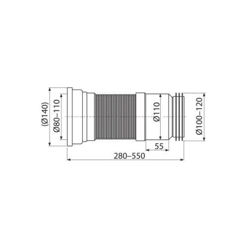WC-Anschluß Abfluß Ablfussgarnitur flexibel 280-550 mm Universal Toilette