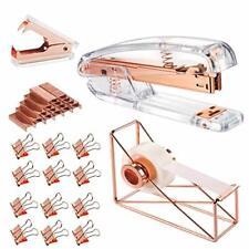 Rose Gold Office Supplies Set Stapler Tape Dispenser Cool Stylish Study Desk Mix