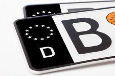 2x Nummernschild Kennzeichen Aufkleber - EU Feld in schwarz - Waschstraßenfest