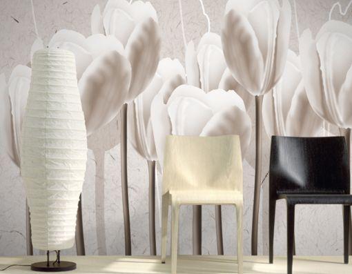 3D Hohe whitee Tulpen 0133 Fototapeten Wandbild Fototapete BildTapete FamilieDE