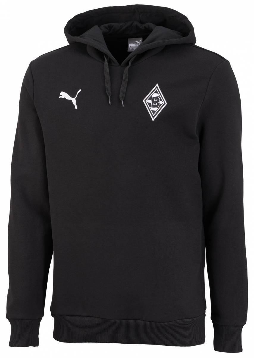 Puma Borussia Mönchengladbach Badge Hoody Kapuzenpullover schwarz Kinder NEU