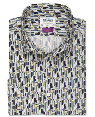 T.M.Lewin   Liberty Fabric Metropolis Slim Fit Stone Shirt