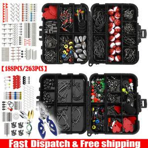 188PCS/263PCS Fishing Accessories Kit with Tackle Box Pliers Jig Hooks Swivels
