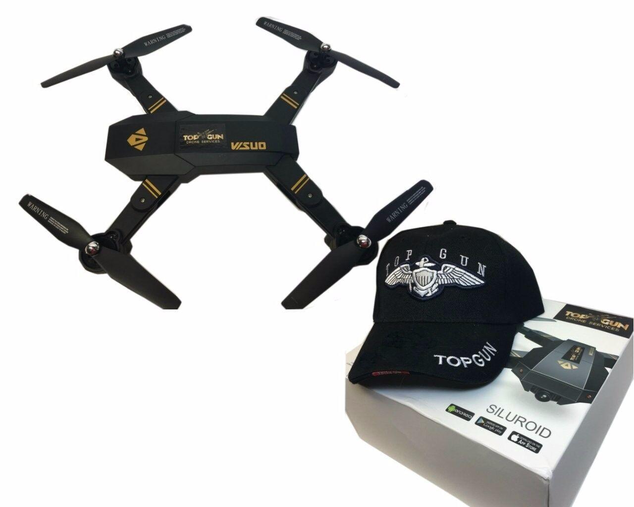 Top Gun cuadricóptero RC Drone con Cámara HD ángulo Ancho y Plegable aerofoils..