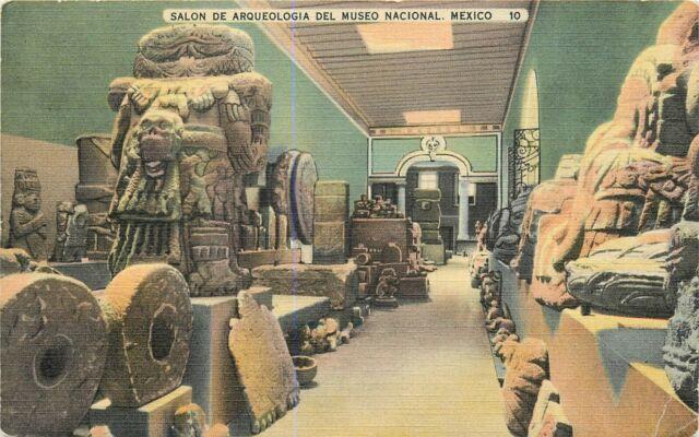 Linen Mex Postcard Da485 Salon de Arqueologia del Museo Nacional Mexico Aztec