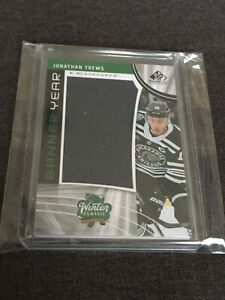 Jonathan-Toews-2019-20-SP-Game-Used-Hockey-Banner-Year-Relic-Card