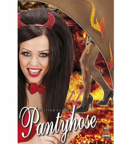 GLITZER FLAMMEN STRUMPFHOSE Halloween Teufelin Rockerin Damen Kostüm Party 4775