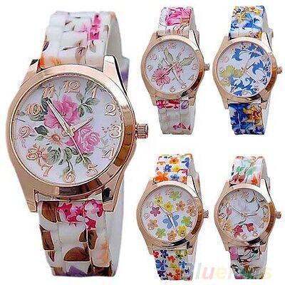 Women's Generous Silicon Band Flower Print Jelly Sports Quartz Wrist Watch Chic