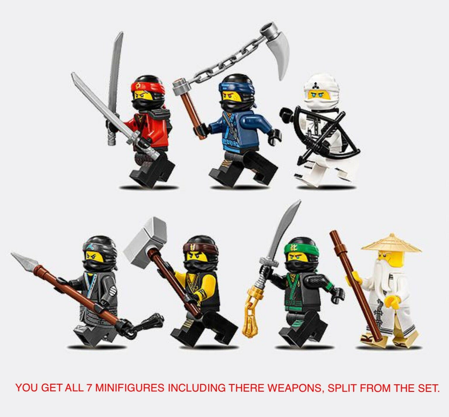 GENUINE LEGO THE NINJAGO MOVIE 70618 MINIFIGURES & WEAPONS SPLIT FROM SET. NEW