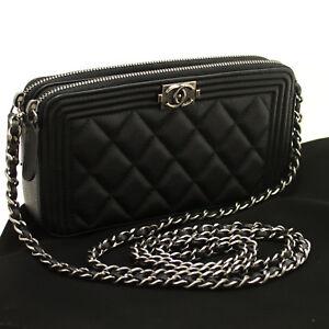 a15224ef Details about p45 CHANEL Boy Caviar Wallet On Chain WOC W Zip Chain  Shoulder Bag