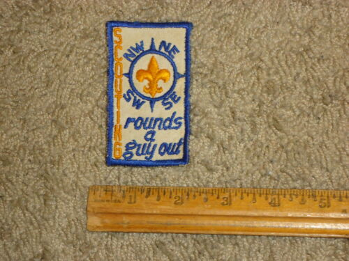 """""ESTATE FIND"""" VINTAGE RARE BOY SCOUT PATCH, COMPASS SCOUTING ROUNDS A GUY OUT"