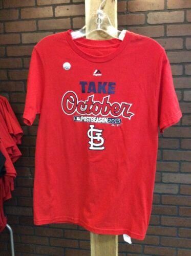 Boy/'s Majestic St Louis Cardinals 2015 Post Season T-Shirt NWT Medium 10-12