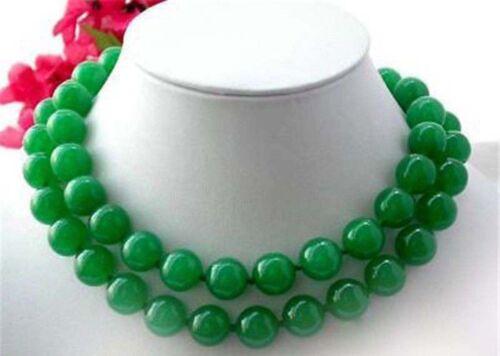 Pretty 10 mm Vert naturel jade Pierres Précieuses Perles Collier 36 in long PN556 environ 91.44 cm