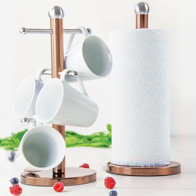 6 Cup Mug Tree /& Kitchen Roll Holder set of 2 Paper//mug and kitchen towel holder Red