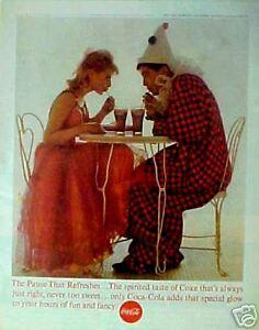1963-Coca-Cola-Soda-Pop-Vintage-Chairs-Clown-Paper-LARGE-SIZE-10-1-2-X-13-1-4-AD
