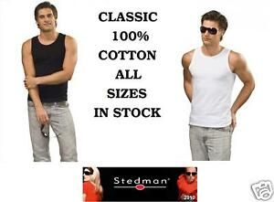 STEDMAN-CLASSIC-MENS-VEST-TOP-TANK-TOP-WHITE-OR-BLACK-S-XXL