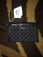 Coach 50473 Madison Needlepoint OP Art Mini Skinny Coin Purse Wallet Black Nwt