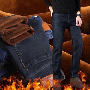 Para-Hombres-Invierno-Termico-Lana-Forrada-Jeans-Pantalones-Pantalones-Jeans-Grueso-Calido-Informal