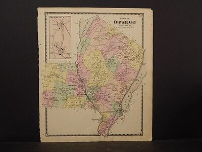 Responsible New York Otsego County Map 1868 Town Of Otsego N4#82 For Fast Shipping North America Maps