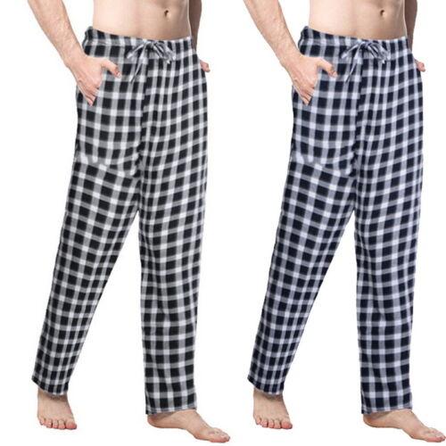 HOT Mens Plaid Pyjama Bottoms Casual Pants Elastic Waist Loose Fit Long Trousers