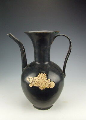 Chinese Antique Jizhou Ware Porcelain Wine Pot With Fish Pattern For Improving Blood Circulation