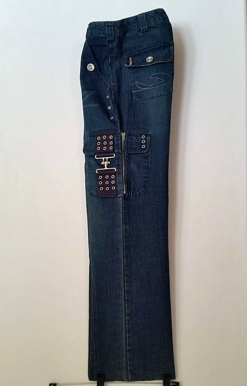 CHRISTIAN LACROIX Jeans Wide Leg Pant with HARDWARE Womens SZ 26 MED DARK WASH