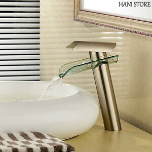 Brushed Nickel Bathroom Vessel Faucet Glass Waterfall One Hole Handle Cheap Tap