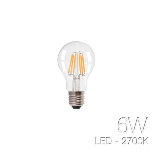 LAMPADA LED FILAMENTO 6 W WATT SFERA BULBO PALLA  E27 LAMPADINA BIANCO CALDA