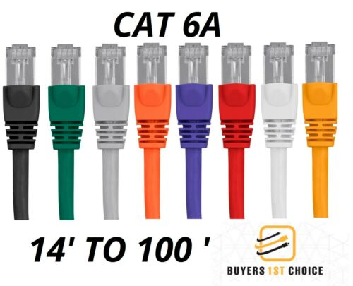 20//25//30//50//75//100FT CAT6A Ethernet Network Cable Patch RJ45 STP COPPER 26AWG