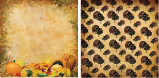 Sheets 12 x 12 Harvest Glow Thanksgiving Turkey Scrapbook Paper Reminisce 2