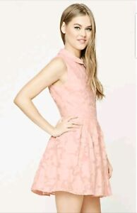 Forever-21-Floral-EMBROIDERED-Pleated-Peter-Pan-Collar-DRESS-Pink-White-S-NWT
