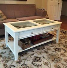 Item 4 Solid Wood Glass Top Shadow Box Display Coffee Table 2 Drawers Shelf Off  White  Solid Wood Glass Top Shadow Box Display Coffee Table 2 Drawers Shelf  ...