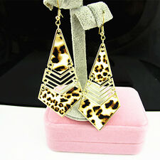 Fashion Jewelry Leopard Print Quadrilateral Dangle Drop Earrings E431